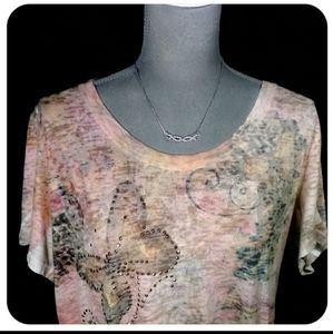 BOGO! Butterfly Print Burnout Top sz 3x